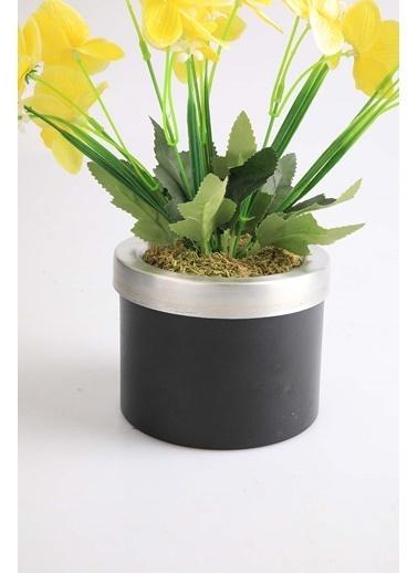 Kibrithane Çiçek Yapay Çiçek Metal Saksı Sarı Kumaş Orkide Kc00200815 Renkli